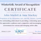 Moonshine Café owners receiving deserved honours from Winterfolk Festival